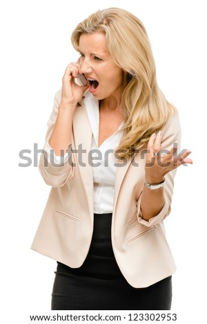 Unhappy woman fighting using mobile phone isolated on white background