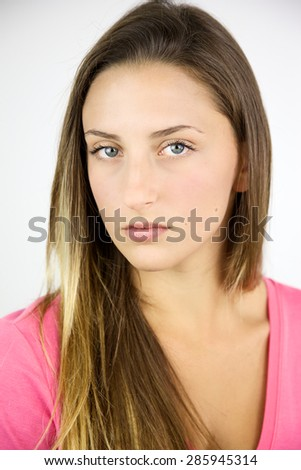 Unhappy woman looking camera portrait