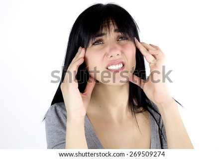 Unhappy woman with strong headache isolated - stock photo