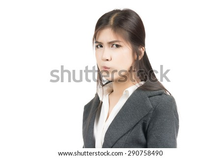 Unhappy young Asian woman with blank cop yspace area for text or slogan,Closeup portrait of beautiful Asian woman,Thai girl,Negative human emotion facial expression,isolated on white background - stock photo