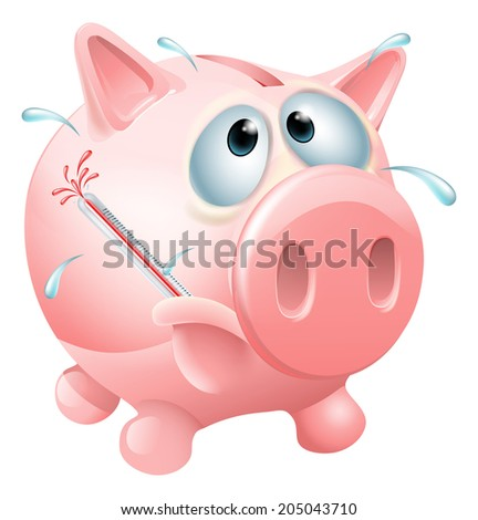 Unhealthy finances concept of an unwell piggy bank sweating with a fever and causing a thermometer to burst - stock photo