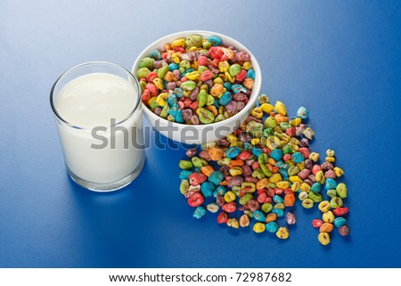 Unhealthy food: popped wheat seeds with lots of artificial colorant and glass of milk