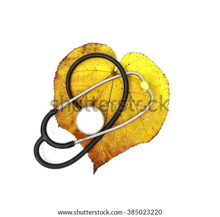 Unhealthy heart concept. Yellow aged and big leaf of a tree (Dombeya wallichii) with a stethoscope on white background     - stock photo