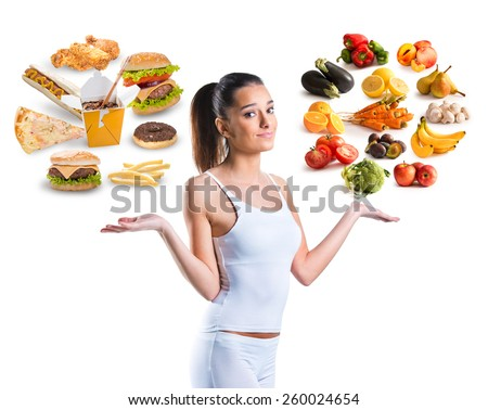 Unhealthy vs healthy food - stock photo