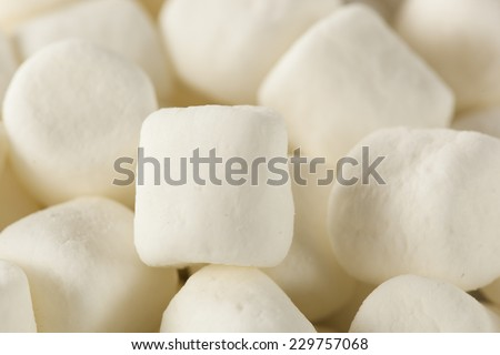 Unhealthy White Mini Marshmallows in a Bowl