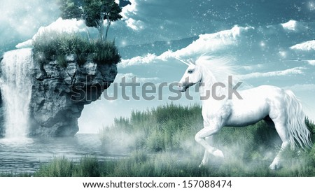 Unicorn and misty waterfall