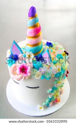 Unicorn Birthday Cake White Cake Multicolour Stock Photo Royalty