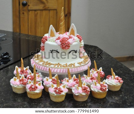 Unicorn Birthday Cake Cupcakes Stock Photo Royalty Free 779961490