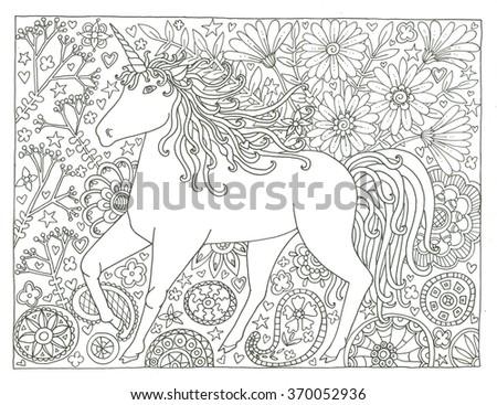 Unicorn Coloring Page Stock Illustration 370052936