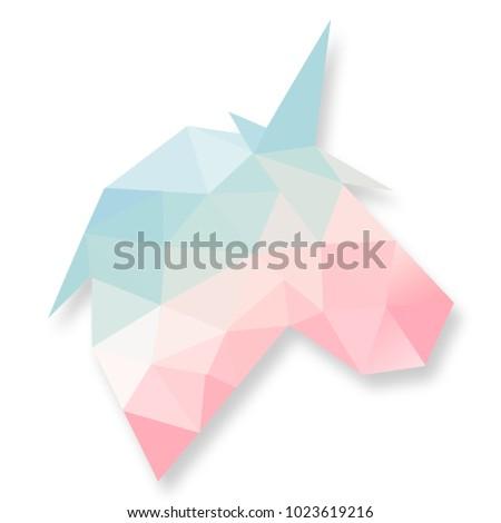 Unicorn Gradient Pink, Blue, Green, Yellow Pastel Geometry Polygon Design Illustration