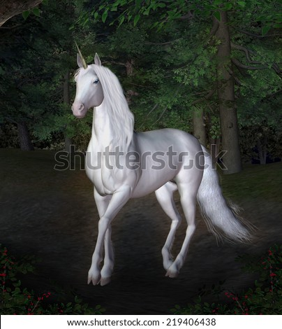 Unicorn in a night forest - stock photo