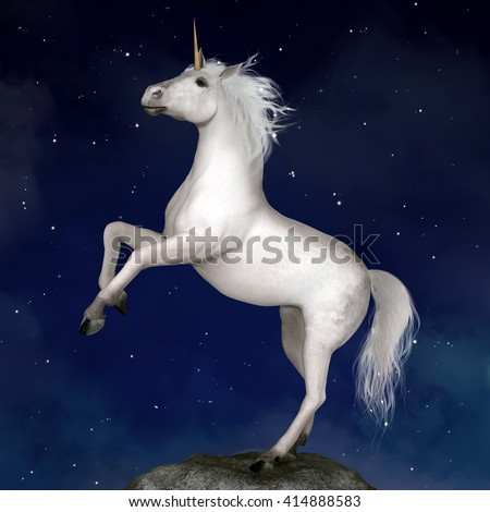 Unicorn in a starry night - 3D illustration