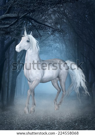 Unicorn in the blue magic forest - stock photo