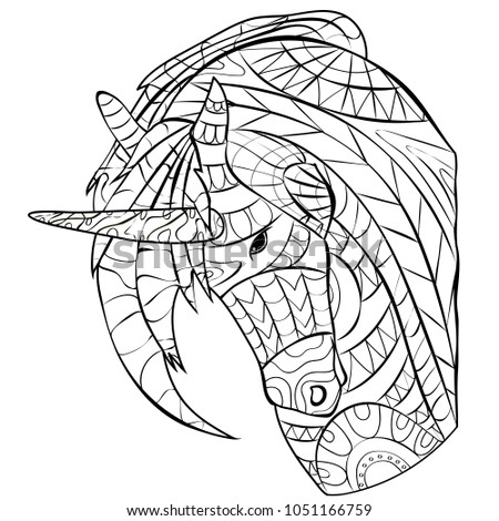 Unicorn Picture Coloring Page For Relaxation Children