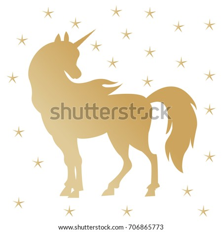 Unicorn Silhouette Illustration Golden Magic Unicorn Ilustración de ...