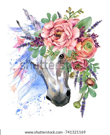 Unicorn Watercolor Flower Bouquet Illustration Fantasy ...