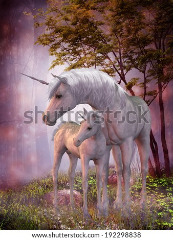 Unicorns Mare and Foal - A white unicorn doe and fawn spend their peaceful time together in the magical forest.  - stock photo