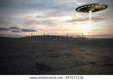 unidentified flying object take off over a desert - stock photo