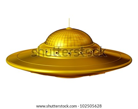 Unidentified Flying Object, �ufo� in pure gold - stock photo