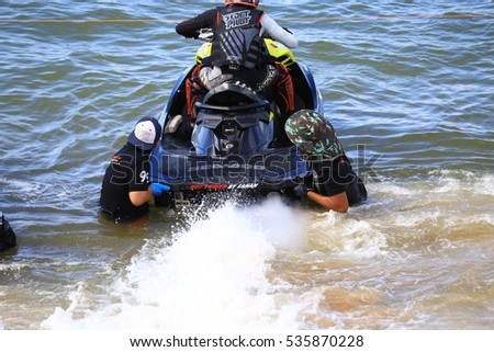 Unidentified jet ski racer at Jet ski King's Cup world Cup Grand Prix at Jomtien Beach on Dec 2-4,2016 in Pattaya City,Thailand.