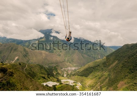 Unidentified Man Swinging On A Swing, Called Flight Of The Condor, Banos De Agua Santa, Ecuador