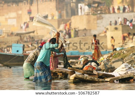Unidentified Men at work, in a Laundry, Dhobighat at Varanasi