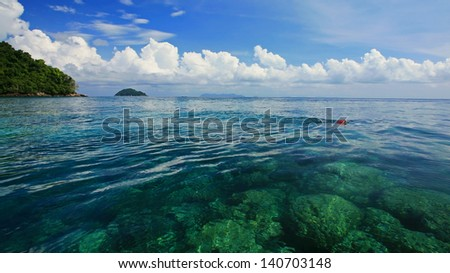 Unidentified person snorkeling at snorkel spot of coral reef in transparent crystal Andaman sea at Koh Surin in Phang Nga, Thailand