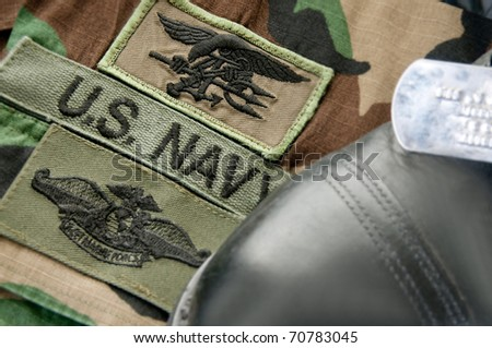 Uniform patches of U.S. Navy SEAL - stock photo