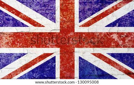 Union Flag distressed; British/United Kingdom flag - stock photo