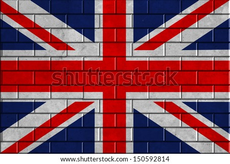 Union flag on a brick wall background - stock photo