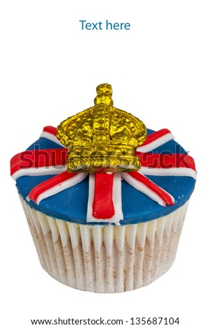 Union Jack decorated cup cake. - stock photo