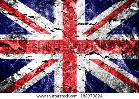 Union jack flag on grunge wall  - stock photo