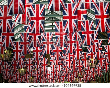 Union jack flags in Covent garden - stock photo
