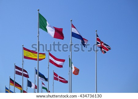 Union Jack flies proudly among other European flags