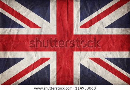 Union Jack on crumpled paper background. Vintage effect - stock photo