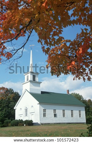 Union Meeting house in autumn on Scenic Route 100, Stowe, Burke Hollow, Vermont
