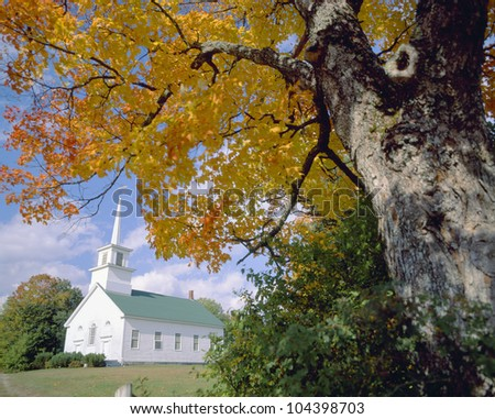 Union Meeting House in Burke Hollow, Autumn in Vermont