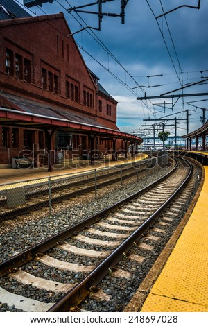 Union Station and railroad tracks in New London, Connecticut. - stock photo
