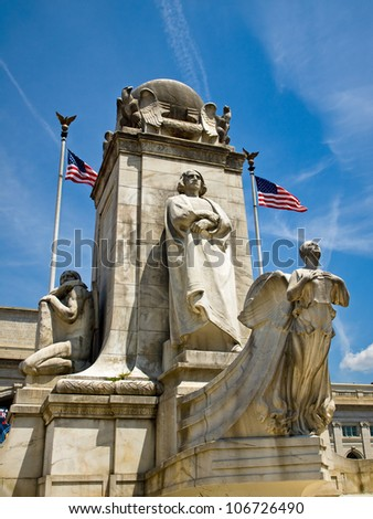 Union Station at Washington DC with Christopher Columbus Statue - stock photo