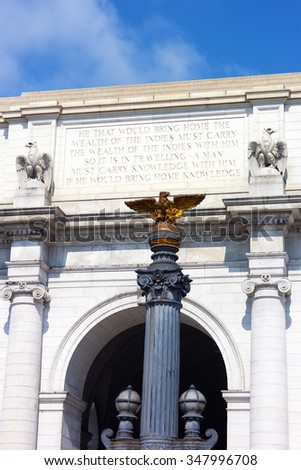 Union Station building fragment in Washington DC. Eagle statues of the Union Station. - stock photo