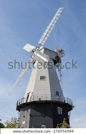 Union Windmill in the Kent town of Cranbrook - stock photo