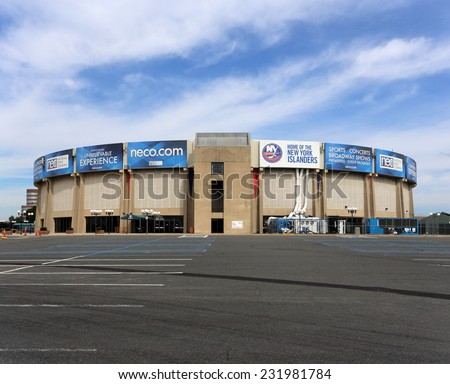 UNIONDALE, NY - SEPTEMBER 24: The Nassau Veterans Memorial Coliseum in Uniondale, New York on September 24, 2014. The multipurpose sports and event venue is home of the New York Islanders of the NHL. - stock photo