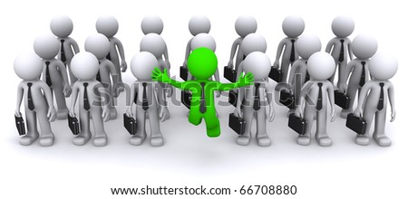 uniqe 3d character standing out from the crowd - stock photo
