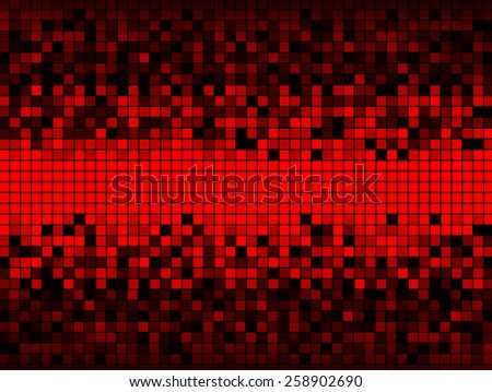 Unique abstract background created from a grid of squares some red some shades of gray, distributed so that the center is all red and the upper and lower edges are dark. - stock photo