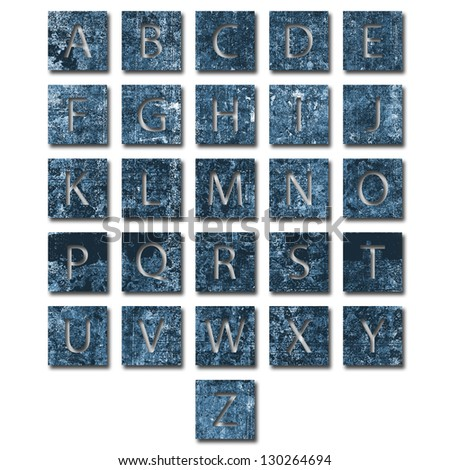 Unique alphabet set with texture and drop shadow