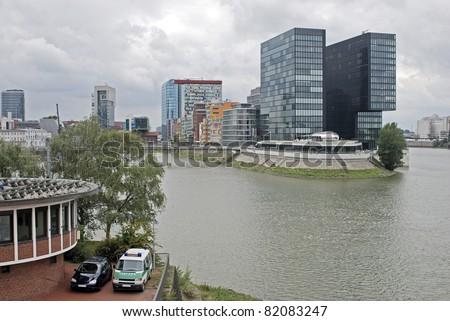 Unique building designs, Media Harbour, Dusseldorf, Germany - stock photo