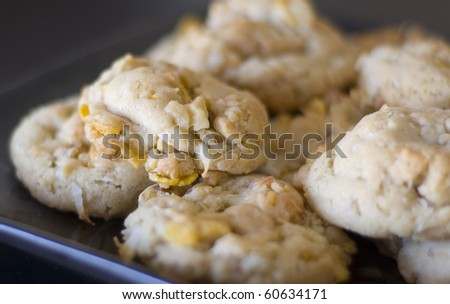 Unique Chewy Corn Flake Cookies with Coconut Walnuts and Oats - stock photo