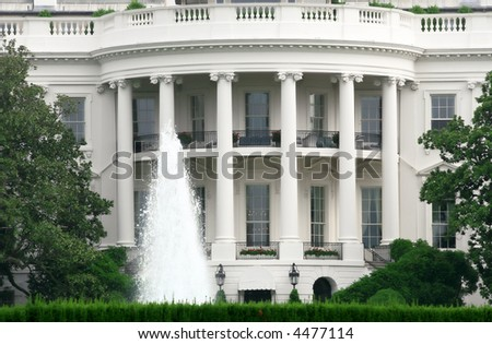 Unique close up view of the white house, the residence of the President of the US - stock photo