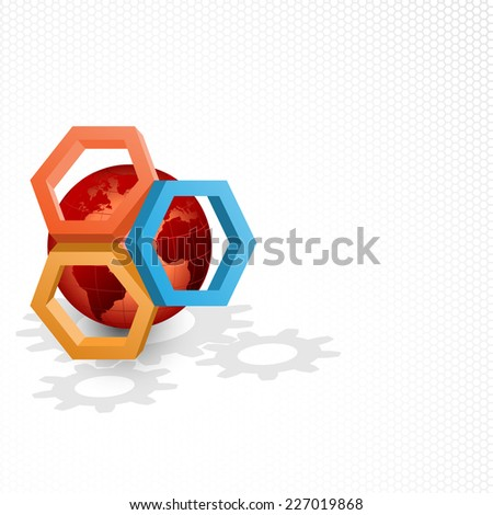 Unique concept for technology background; Earth globe framed by three dimensions hexagons. Abstract background for office and business, wallpaper, poster, template for designers.  - stock photo