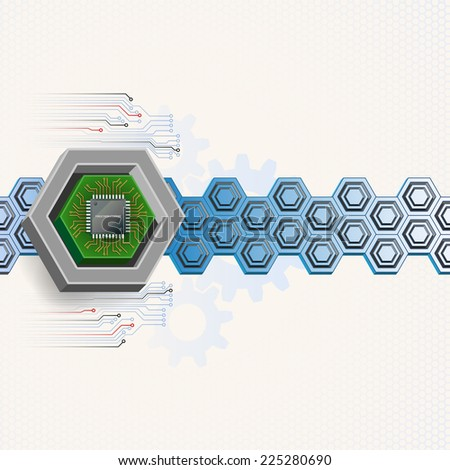 Unique concept for technology background; Mini electronic chip framed by three dimensions hexagon. Abstract background for office and business, wallpaper, poster, template for designers. - stock photo